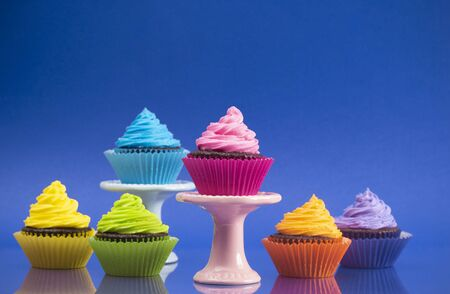 Rainbow Colored Frosted Chocolate Cupcakes set for a Party