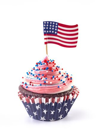American Themed Cupcakes with Sprinkles and Decorations Isolated on a White Background