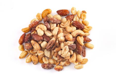 Mixed Honey Roasted Nuts Isolated on a White Background