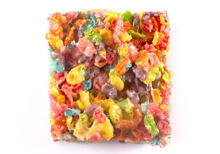 Fruity Cereal Marshmallow Treat Bars Isolated on a White Background Reklamní fotografie