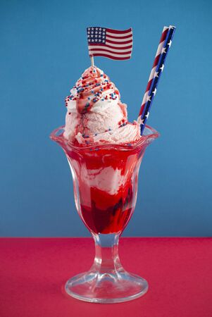 Ice Cream Sundae with an American Flag a Great Dessert for a Fourth of July Picnic