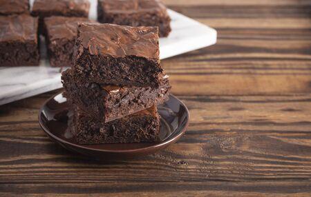 Stack of Homemade Double Chocolate Brownies 版權商用圖片
