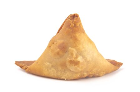 Meat Filled Samosas on a White Background