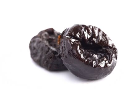 Prunes Isolated on a White Background Archivio Fotografico