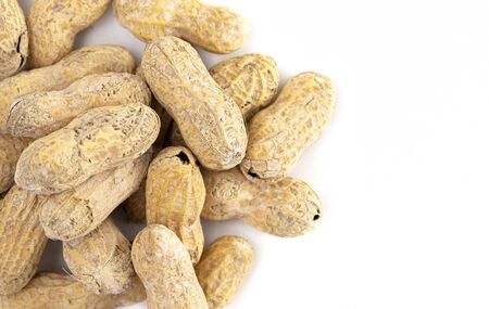 Raw In Shell Peanuts Isolated on a White Background