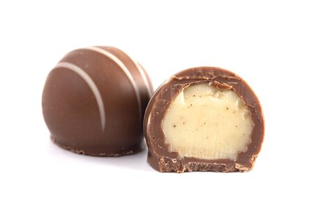 Milk Chocolate Truffles Filled with Vanilla Isolated on a White Backgroun