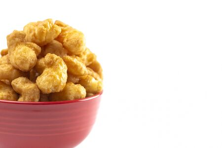 Caramel Puff Corn Popcorn Isolated on a White Background