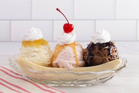 Classic Banana Split on a Kitchen Cabinet