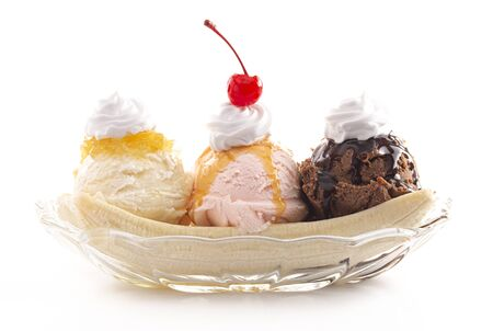 Classic Banana Split Isolated on a White Background