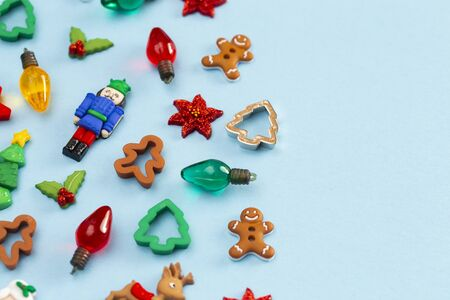Background of Holiday Items and Characters with Copy Space Stock Photo
