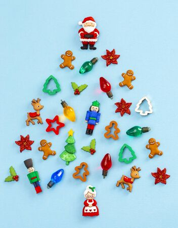 A Christmas Tree Made from Various Toys and Holiday Themed Objects