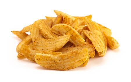 A Pile of Spiced Potato Wedges Isolated on a White Background