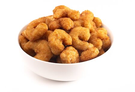 Bowl of Popcorn Shrimp Isolated on a White Background