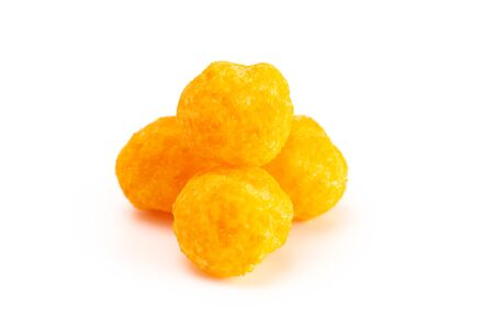 A Small Pile of Cheese Covered Ball Snacks Isolated on a White Background