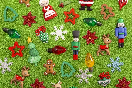Festive Holiday Background with Various Christmas Theme Toys Stock Photo