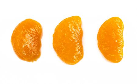 Manderine Oranges Slices Isolated on a White Background