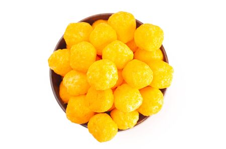 Cheese Covered Ball Snacks Isolated on a White Background