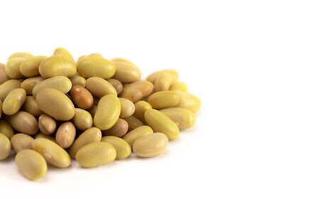 A Pile of Dry Mayocoba Beans Isolated on a White Background