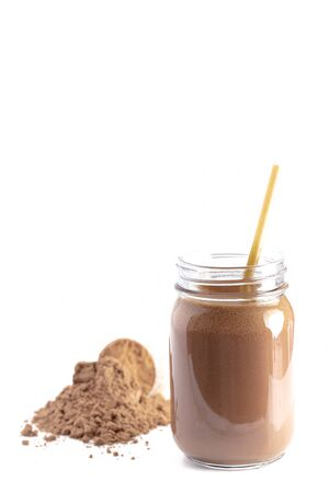 Chocolate Protein Powder Shake Isolated on a White Background