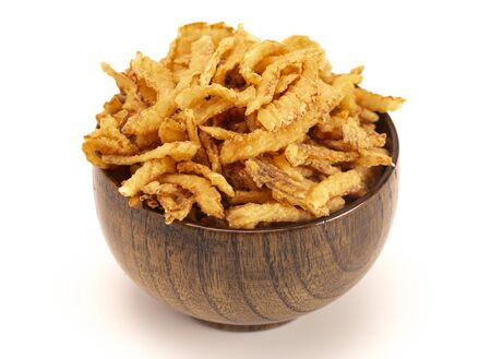 Fried Onions for Green Bean Casserole or Salad Garnish Isolated on a White Background