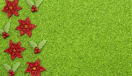 Festive Holiday Background with Poinsettias and Holly Berries