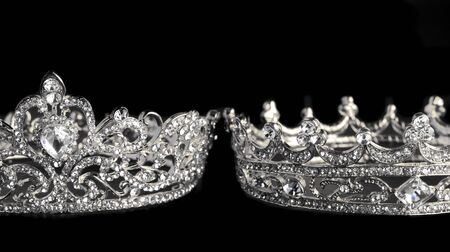 Silver Crowns Isolated on a Black Background