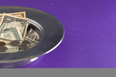Church Collection or Contribution in a Silver Tray