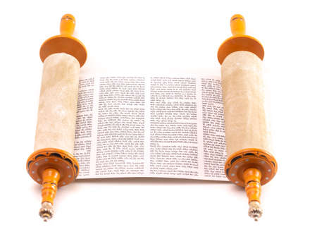 Ancient Looking Hebrew Scroll of the Torah Stock Photo