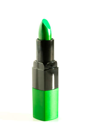 Tube of Green Lipstick Isolated on a White Background Reklamní fotografie