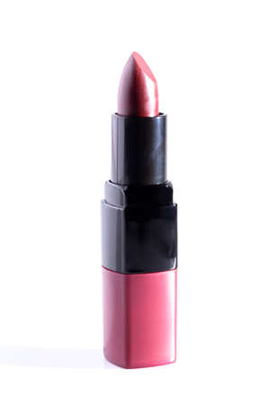 Tube of Mauve Lipstick Isolated on a White Background