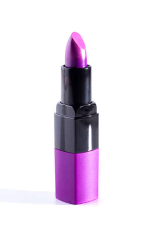 Tube of Purple Lipstick Isolated on a White Background