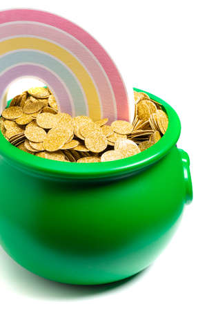 Green Pot Full of Golden Coins at the End of the Rainbow