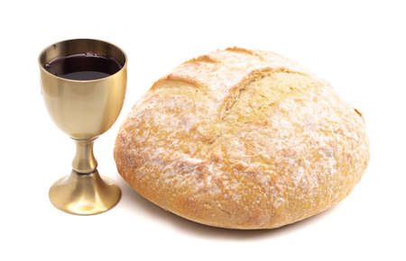 The Sacrament of Holy Communion Isolated on a White Background