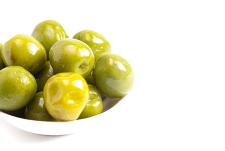 Ripe Green Organic Olives on a White Background 版權商用圖片