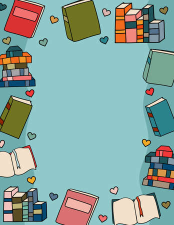 A Colorful Border of Books and Love Hearts