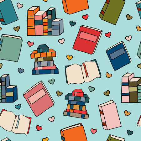 Seamless Patter of Cute Books Both Open and Closed with Love Hearts 向量圖像