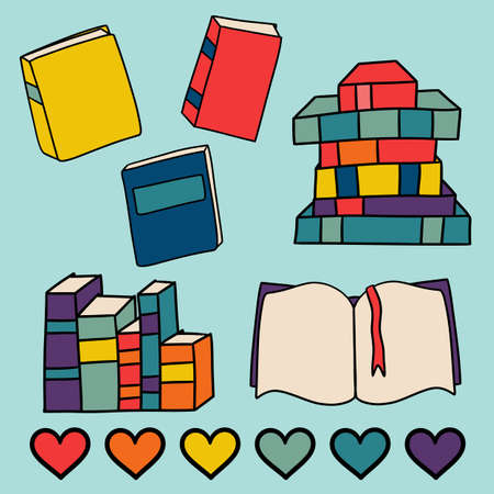 A Collection of Books Both Open and Closed with Stacks and Shelves Full with Love Hearts 向量圖像
