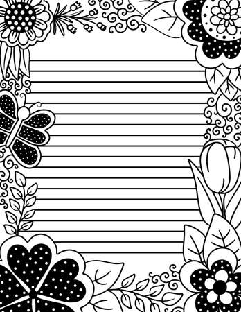 Adult Coloring Page with Lines for Writing with Floral Border of Polka Dots and Butterflies 向量圖像