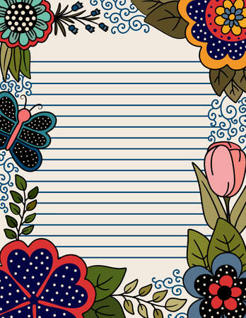 Colorful Page with Lines for Writing with Floral Border of Polka Dots and Butterflies
