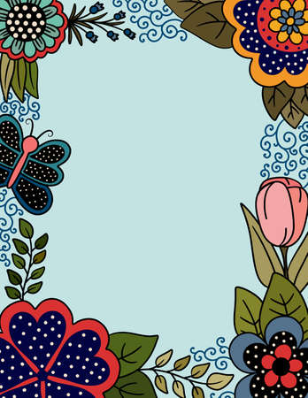 Colorful Page with Floral Border of Polka Dots and Butterflies