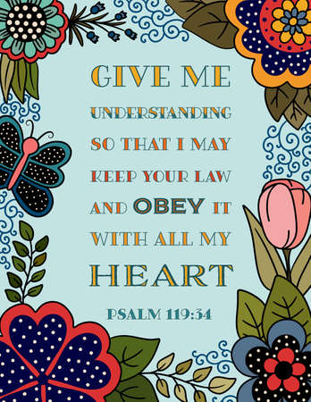 Bible Verse from the Book of Psalm with a Floral Border with Butterflies