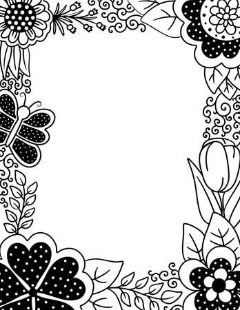Adult Coloring Page with Floral Border of Polka Dots and Butterflies
