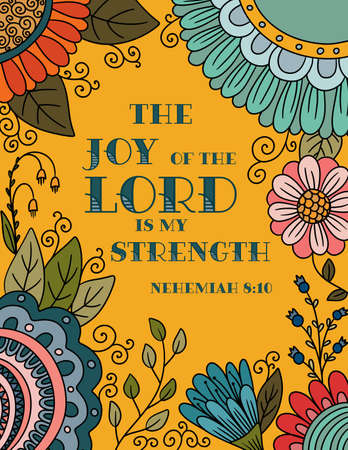 Floral Border with a Verse The Joy of the Lord is My Strength