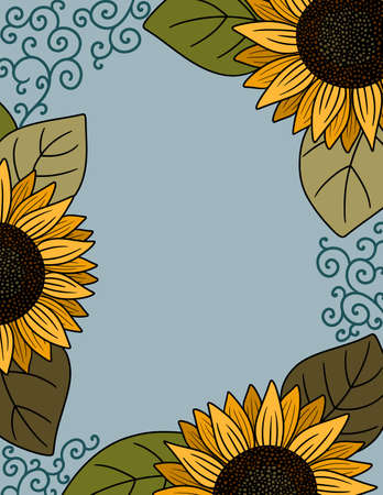 A Border of Yellow Sunflowers with a Blue Background and Copy Space