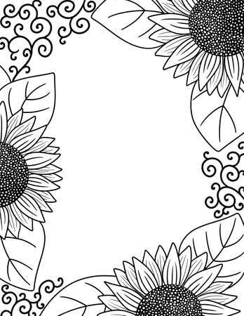 A Border of Sunflowers Perfect for Coloring