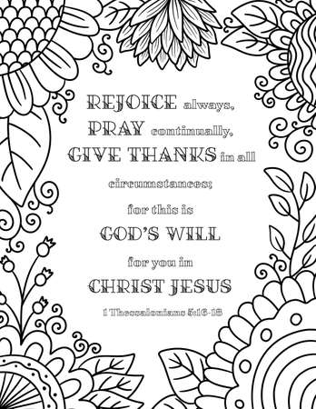 An Adult Coloring Floral Border with a Bible Verse