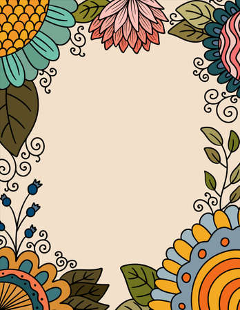 Colorful Floral Border with Copy Space