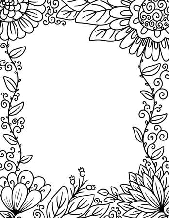 A Border of Flowers Perfect for Coloring
