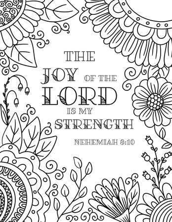 Adult Coloring Floral Border with a Verse The Joy of the Lord is My Strength