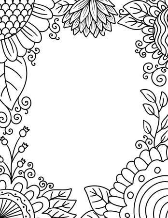 An Adult Coloring Border of Flowers and Foliage